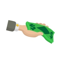 Hand holding dollar banknotes icon cartoon style vector image