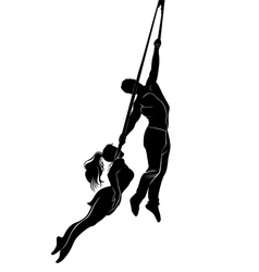 Acrobatic young girl and boy vector image vector image