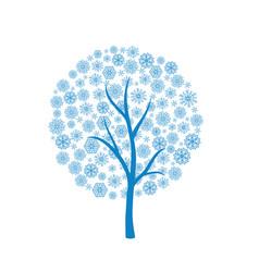 blue winter tree vector image