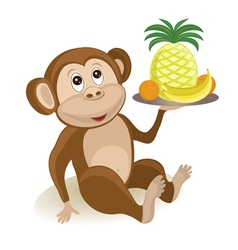 Cartoon monkey with fruits vector image vector image