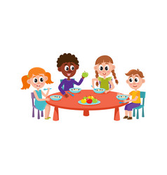 children sitting at table eating at camp vector image