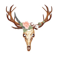 Deer Skull Rose vector image vector image