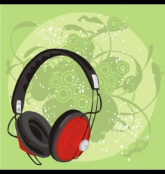 earphone with grunge background vector image