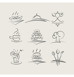 food and utensils set of vector image