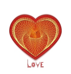 heart embroidered on cardboard vector image vector image