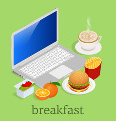 Isometric having breakfast in front of computer on vector