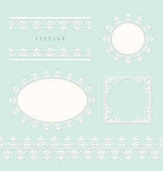 lace decorative frame and border set on pastel vector image