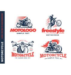 motorcycle shield emblem logo design vector image vector image