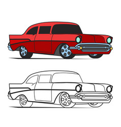muscle car cartoon classic poster and for vector image vector image