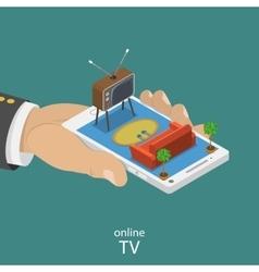 Online TV flat isometric concept vector image vector image