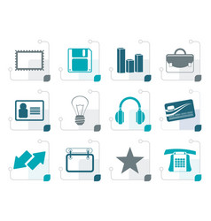 stylized office and business icons vector image