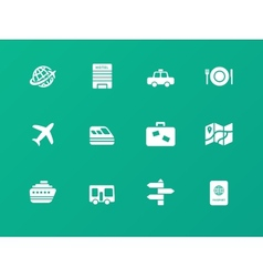Travel icons on green background vector image vector image
