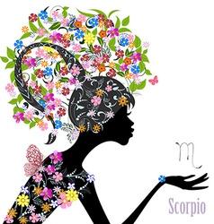 Zodiac sign scorpio fashion girl vector image