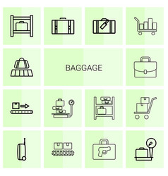 14 baggage icons vector