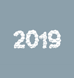 2019 white snow numbers vector image