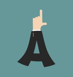a letter businessman hand font it shows finger vector image