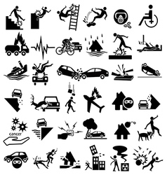 Accident insurance icons vector