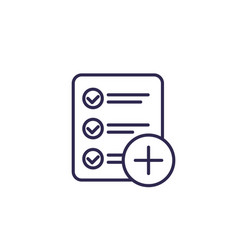 Add new task line icon on white vector