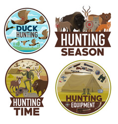 Animals hunting open season hunter equipment vector