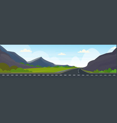 Asphalt highway road and beautiful mountains vector