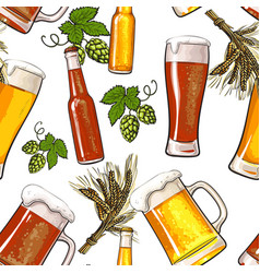 banner of beer bottle mug and glass malt and hop vector image