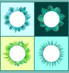 Banners templates with tropical plants leaves set vector