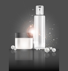 Beauty skin care cosmetics anti-aging elements vector