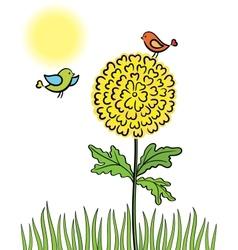 Birds on a flower vector
