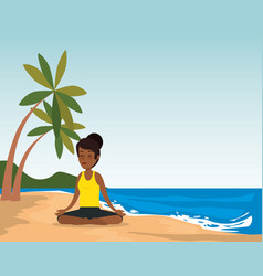 Black woman practicing yoga on the beach vector