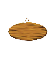 Blank oval wooden signboard hanging timber vector