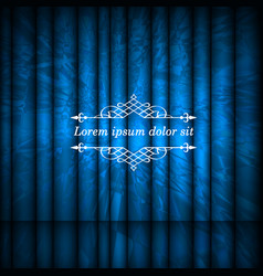 Blue abstract curtains and vintage border frame vector