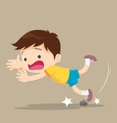 Boy falling stumble tripping over stone vector