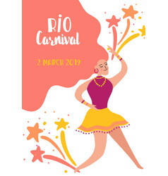 brazil carnival banner with dancing woman vector image