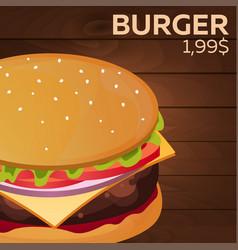 Burger price fast food restauran menu vector