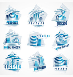 business buildings set modern architecture vector image