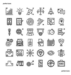 business outline icons perfect pixel vector image