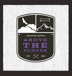 camping adventure monochrome card above the vector image