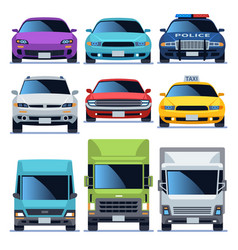 Car front view icons set vehicles driving auto vector