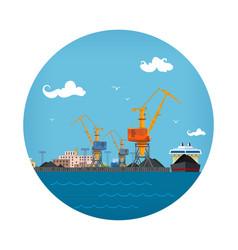 Cargo sea port icon vector