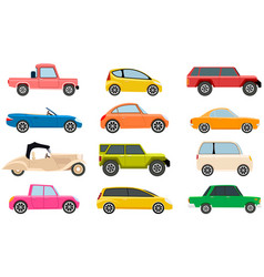 Cars different types without drivers set vector