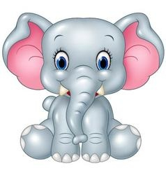 Cartoon funny baby elephant sitting isolated on wh vector