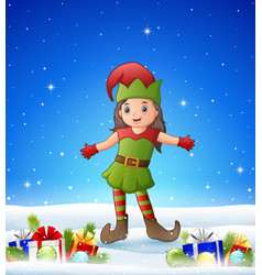cartoon girl wearing elf costume in the winter bac vector image