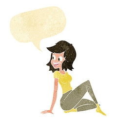 Cartoon pretty woman looking happy with speech vector