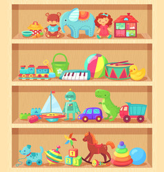 Cartoon toys on wood shelves funny animal baby vector