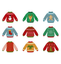 cartoon ugly sweater christmas sweaters vector image