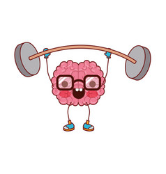 Cartoon with glasses train the brain with happy vector