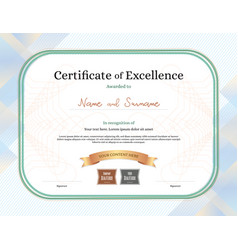 Certificate of excellence template with award vector