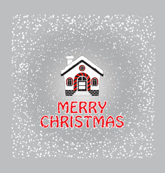 Christmas greeting card with snow-covered house vector