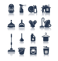 Cleaning blue icons vector image
