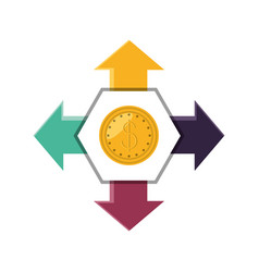 Coin dollar with arrows in different directions vector